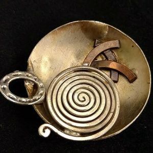 Vintage artist made mixed metal pendant